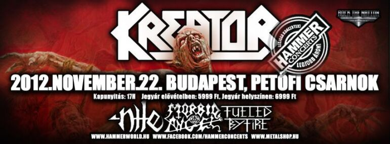 Kreator, Morbid Angel, Nile, Fueled By Fire - Death/thrash ünnep a Pecsa Music Hall-ban